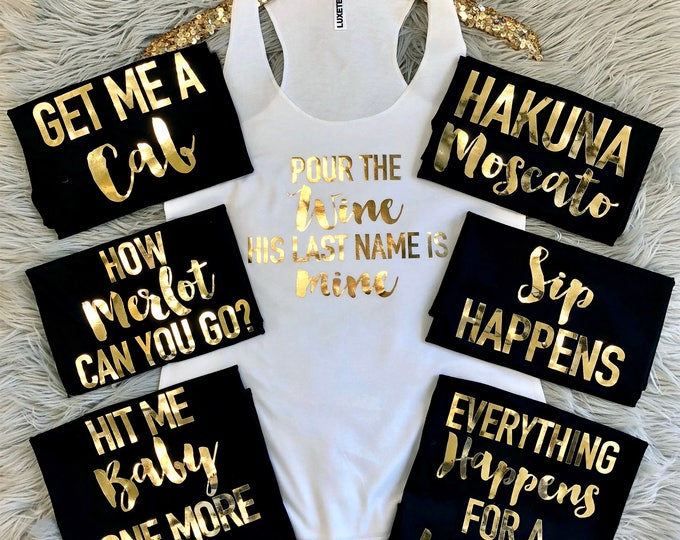 Featured listing image: Bachelorette Champagne sayings on Racerback Tank Top Gold Foil // Bachelorette Party Tank Tops,Bachelorette Party, Bachelorette, Bride 6001