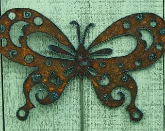 Butterfly Garden Stake Rusty Metal Art Garden Decor