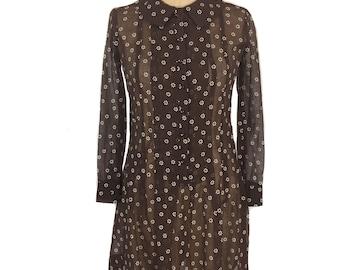 Jahrgang 1960 schiere geblümten Mini Kleid / Jugend Gilde / Shirtwaist Kleid / Baumwolle / Damen Vintage Kleid / Größe klein