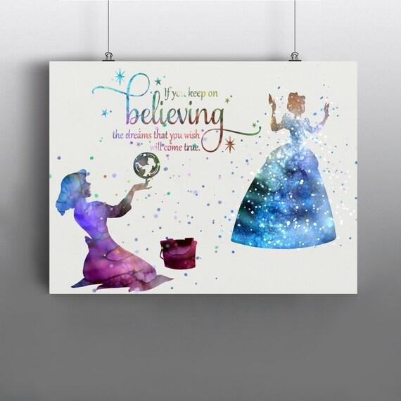 cinderella disney art print fairytale poster watercolor