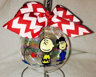 """Custom Hand Decorated 4"""" Charlie Brown and Lucy Christmas ornament"""