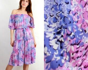 Open Shoulders Dress / Midi Dress / Vintage Floral Dress / Summer Dress / Boho Dress / Floral Dress / Small Floral Dress / Bohemian Dress