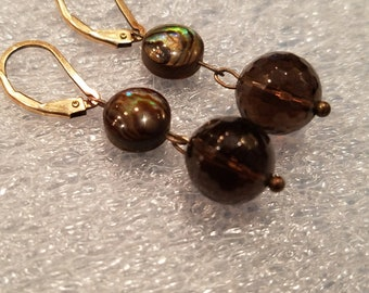 Dangle earrings featuring faceted glass spheres and flattened round natural stone opalescent