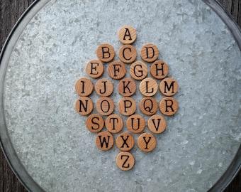 Alphabet magnets, magnetic letters, fridge magnets, wooden alphabet, office decor, Montessori alphabet, wooden toy