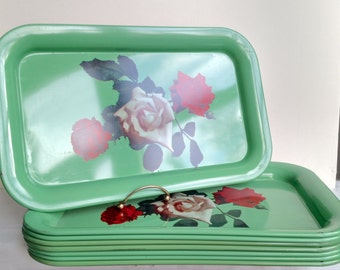 1950s Retro Vintage Mint Green Tin Metal Serving Trays - Rose Flower Pattern - With Magazine Rack