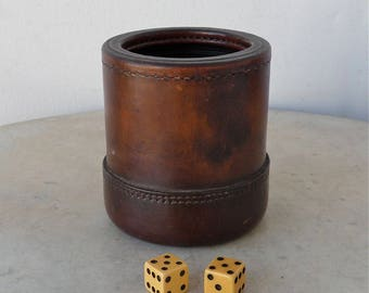 LEATHER DICE CUP + 2 Bakelite Dice Chestnut Brown Ribbed Rubber Interior Solid Grip Double Stitched Bottom Nice Aged Leather Patina American