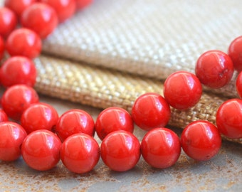 Bright Red Coral Beads 8mm Bamboo Red Coral Color Tibetan Summer Smooth Round Orangey Red Tribal Beads Tibetan One Strand, MAN17-0126B