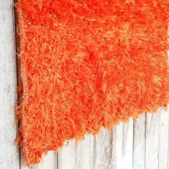 Throw Rug Purpose: Orange Rug Shag Rug. 60x120 Cm. 2' X 4' Bedside