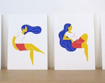 Original silkscreen 3 colors, postcard format