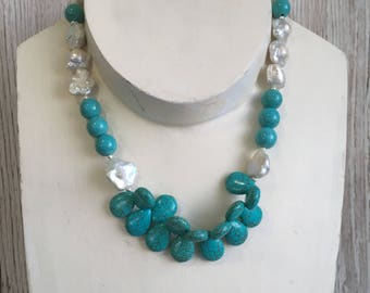 Turquoise and fresh water pearl Statement necklace with sterling silver toggle clasp UK made
