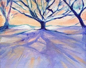 Winter Light, A4 Fine Art Winter Lanscape & Trees Painting Print