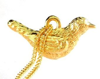 Vogelhäuschen-Schmuck - Gold Liebe Taube Halskette
