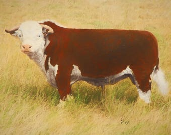 cow art gift Hereford calf bull cattle ranch farm oil on canvas painting  print