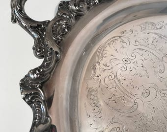 "Towle Silverplate Ornate Grand Duchesse  Footed Tray  26"" x 16"" Extra Large Oval"