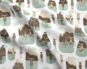 Mountain Animals Fabric - Mountain And Animals By Katherine Quinn - Mountain Animals Cattle Stand Cotton Fabric By The Yard With Spoonflower