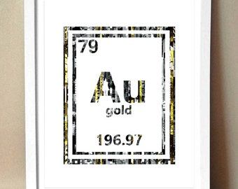 Au periodic table etsy art print golden periodic table of elements gold au magazine strip art urtaz Gallery