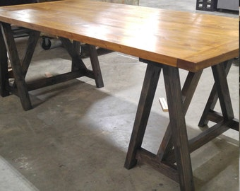 Rustic Desk, Industrial Desk, Loft Style Table, Sawhorse Wood Desk, Kitchen  Table