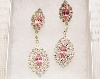 Vintage Marquise Rhinestone Earrings, Pink Rhinestone Earrings