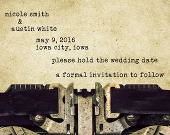 Save the Date Card - Vintage Typewriter - Personalized Wedding Announcement - Printable Photo Digital File Invitation pp112