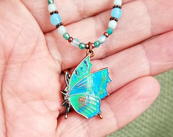 Butterfly Necklace - Handpainted Butterfly and Copper Necklace, Gift