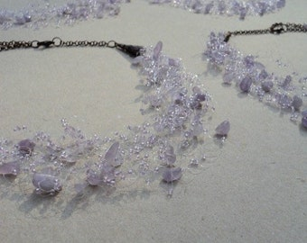 Set of 5 necklaces, Amethyst necklaces, Lavender wedding jewelry, Purple bridesmaid gifts, Purple wedding, Amethyst jewellery, Made to order