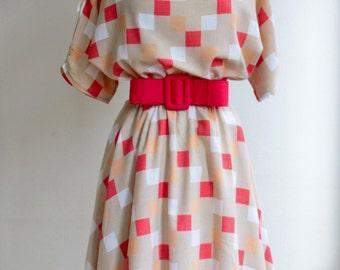 Square print dress