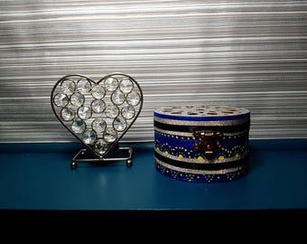 Round Jewellery Box/ Storage - Blue & Silver