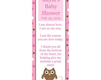 24 Personalized Baby Shower Keepsake Bookmarks  PINK OWL