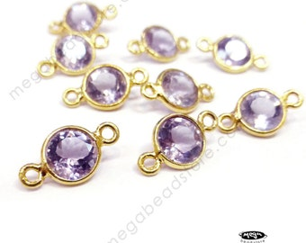 6 pcs 6mm Light Purple Pink Amethyst Gold Bezel Connector Pendants F491
