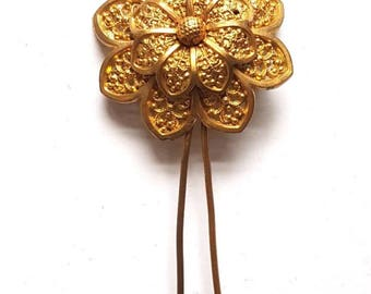 Antique Victorian Hinged Flower Gold Tone Gilt? Hair Pin