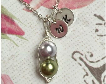 Custom 2 Pea in a Pod Necklace - Personalized Sterling Silver Pea Pod Initial Necklace - Wire Wrapped Two Pea Pod Necklace - Peas in a Pod