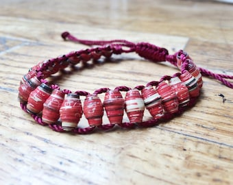 Red Recycled Magazine Beaded Bracelets