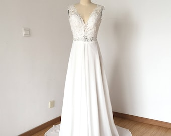V-neck Ivory Lace Chiffon Long Wedding Dress