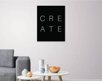 CREATE - Black and White Art, Create Typography, Create Nursery, Create Nursery Print, Create Print, Modern Wall Art, Home and Office Decor