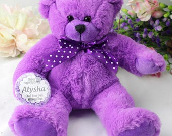 Happy Birthday Personalised Bear - Purple