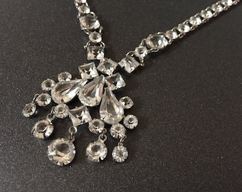 "Vintage Rhinestone Necklace, Formal Jewelry, Clear Open Back Cupped Rhinestones on Silver Rhodium Plated Metal, 16"" Necklace"