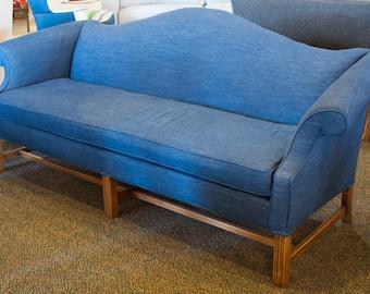 Camel back Denim Upholstered Sofa   Reupholstered Vintage Furniture   Milo Milo