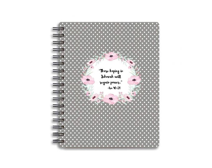 Handmade Hard Cover Spiral Bound Gray Polka Dot Notebook - 2018 Yeartext