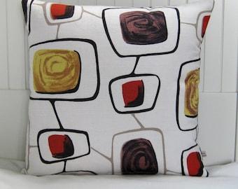 Barkcloth Pillow  - 1950s Atomic Mid Century Cushion by Nicework