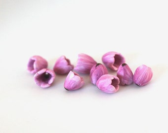 Tulip Beads, Spring Flowers, Polymer Clay Beads, Pink Purple Flower Beads, 10 pieces