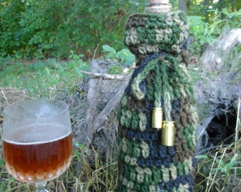camo wine bottle cover, camouflage gift bag for hunters, crochet drawstring beverage holder, military veterans, sports, empty bullet shells