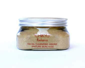 Facial Cleansing Grains, Face Polish, Rice Enzymes, Exfoliator with Grains, Cleansing Grains, Radiance (Mature Skin) 4oz