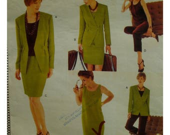 Wardrobe Pattern, Scoop Neck Dress, Top, Pull-on Skirt, Pants, Unlined Jacket, Front Button Accent,  V-neck Vogue No. 1831 UNCUT Size 6 8 10