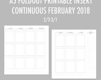 A5 Continuous Weekly Foldout Printable Insert - February RINGS
