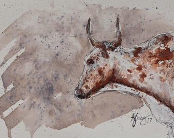 LONGHORN Steer ORIGINAL PAINTING * Cow Painting Original Watercolor * Country Farm House Wall Art * Modern Rustic * usa Free Shipping