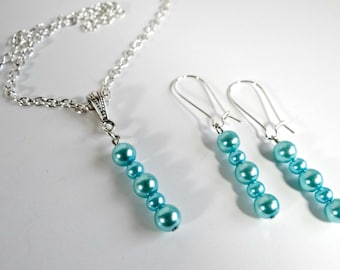 Handmade Blue Pearl Necklace/Matching Earrings Set, Jewelry, Gifts for Her, Turquoise Blue Swarovski Pearl Pendant Necklace Earrings