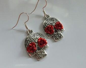 Sugar Skull earrings day of the dead design womans rose detail