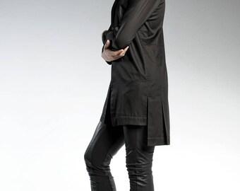 Black Tunic Top, Mens Tunic For Men, Long Black Shirt, Modern Black Top, Elegant Black Tunic, Mens Fashion Wear, Minimalist Clothing
