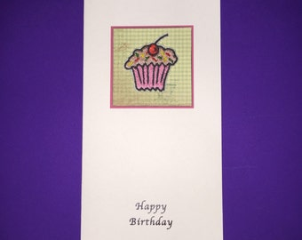 Cupcake Embroidered Birthday Card