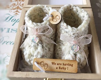 Crochet booties baby shower gift annoucement grantparents gift baby bump reveal rhinestones baby boy ribbon months
